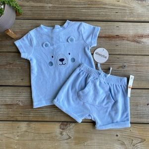 💥Absorba terry shorts top baby boy outfit B7
